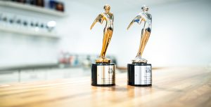 Two Telly Awards on table.