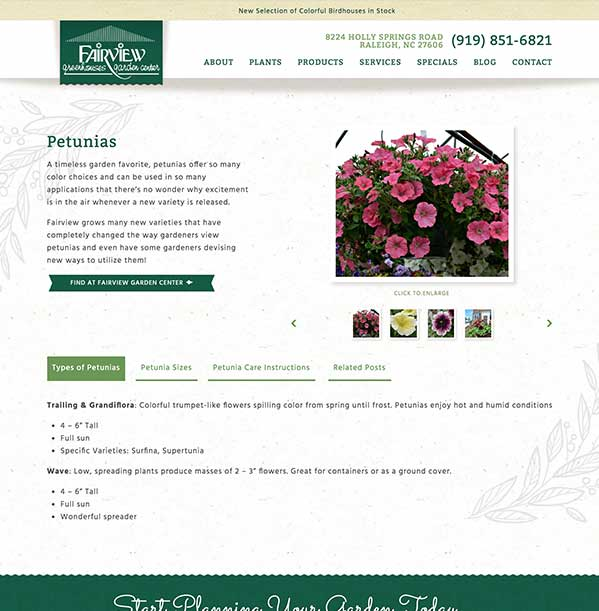 Screenshot of a sample Fairview Garden Center product page