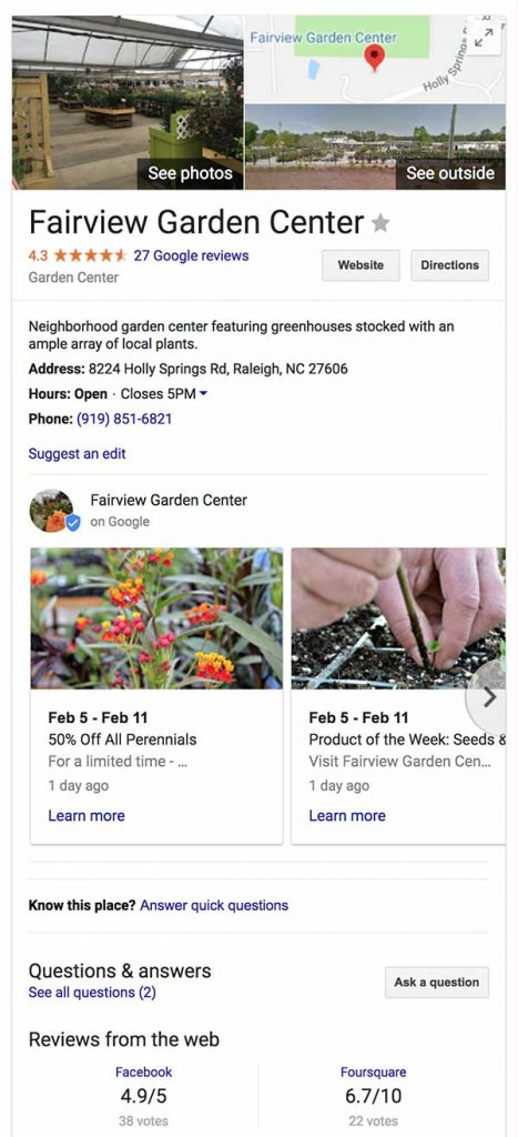 Screenshot of the Fairview Garden Center's Google My Business page