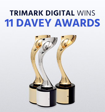 Picture of Davey Awards trophies with TriMark logo