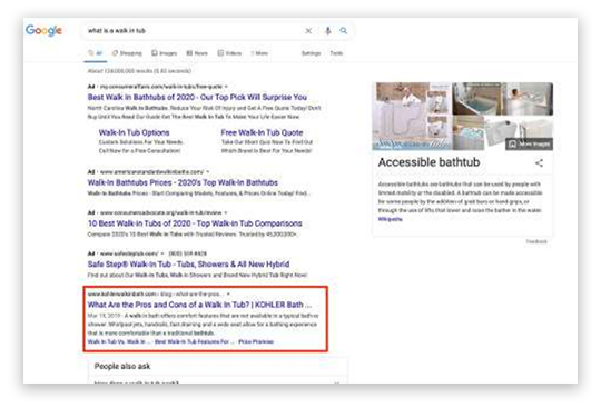 Image of Google search engine and KWIB blog post ranking #1