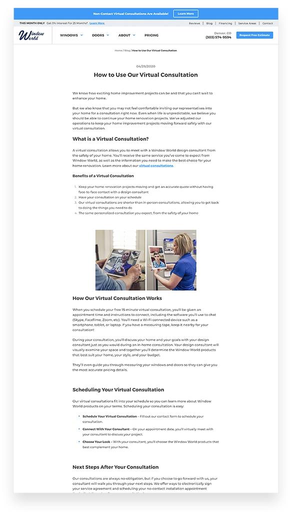 Window World Virtual Consultation Blog