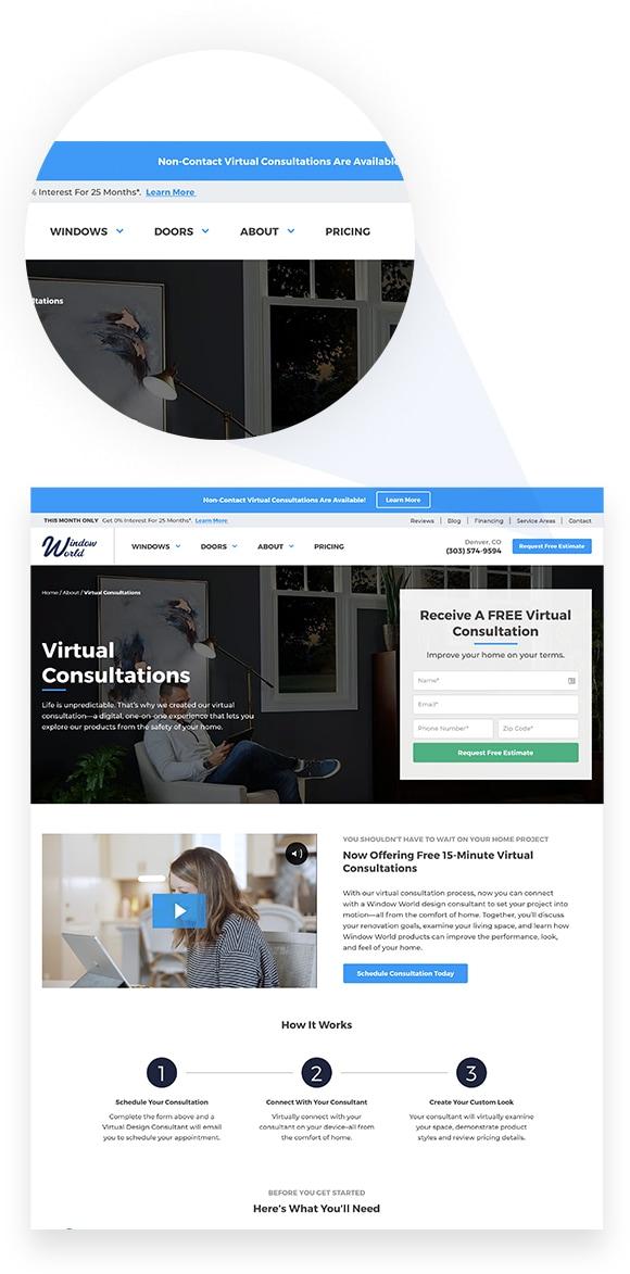 Window World Virtual Consultation Splash Page
