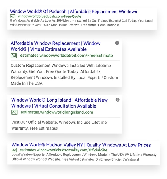 Window World Paid Search Ads