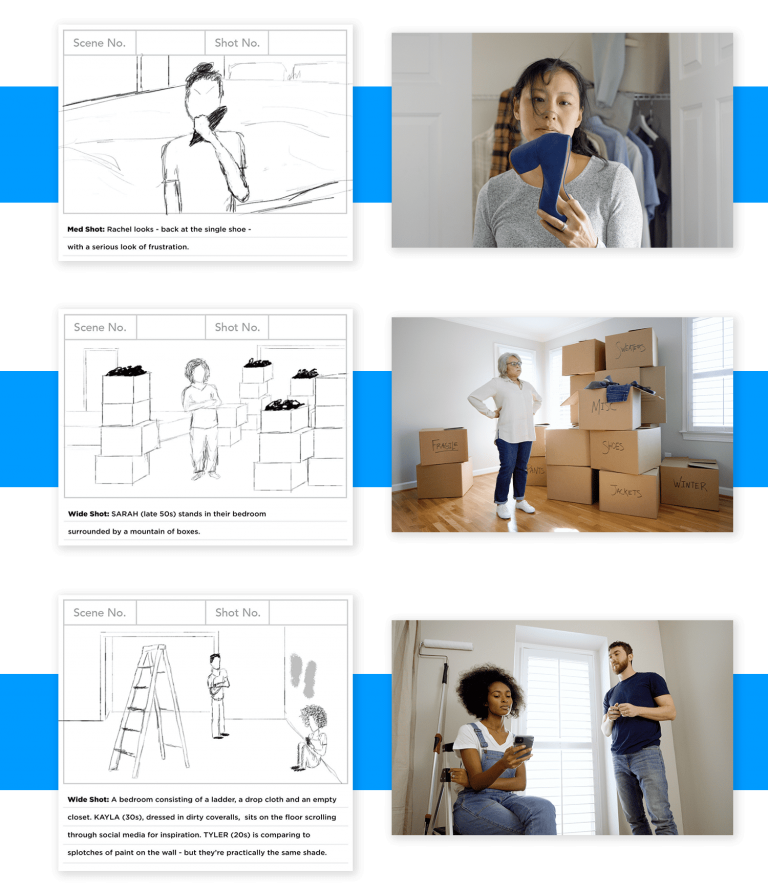 Image of story boards and video production