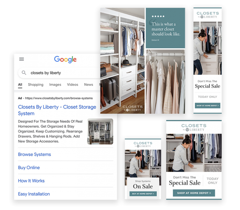 Collage of Google, social ad examples and display